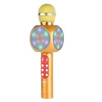 Беспроводной караоке микрофон Wster WS-1816 с Led подсветкой Золотой
