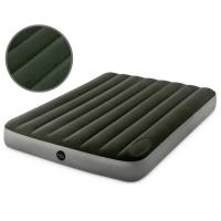 Надувной матрас велюровый серый с помпой 137х191х25