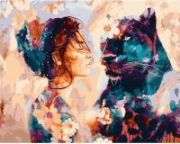 Картина по номерам ZX 23021 Девушка и пантера 40*50