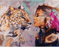 Картина по номерам ZX 23204 Девушка и леопард 40*50