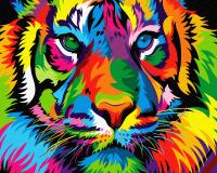 Картина по номерам ZX 23644 Радужный взрослый тигр 40*50