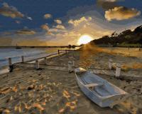 Картина по номерам ZX 23890 Закат на рыбацком пляже 40*50