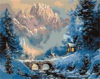 Картина по номерам ZX 23579 Мост через зимнюю реку 40*50