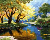 Картина по номерам ZX 23615 Золотая осень на озере 40*50