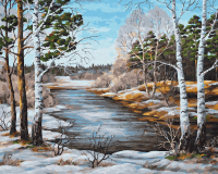 Картина по номерам ZX 23633 Зимняя лесная река 40*50