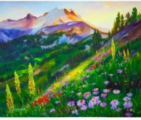 Картина по номерам Q5114 Солнце в горах 40*50