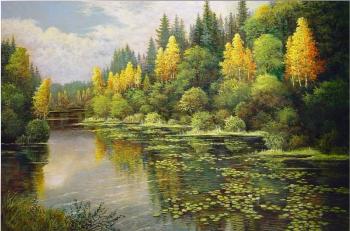 Картина по номерам Q4453 Лесное озеро. Осень 40*50
