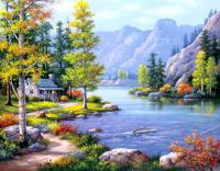 Картина по номерам Q2891 Домик у озера 40*50