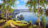 Картина по номерам Q3302 Березы у озера 40*50